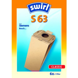 Swirl Staubsaugerbeutel S63 / S 63 für Siemens / Bosch  Staubsauger Typ: R / N