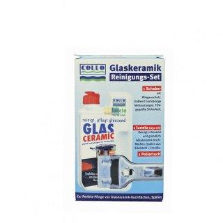 Collo Luneta Set Glaskeramik Reinigungs-Set / Schaber, Reiniger, Poliertuch für Glaskeramikkochfeld