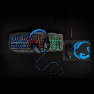 Gaming-Combo-Kit | 4-in-1 | Tastatur, Headset, Maus und Mousepad | Deutsches Layout | Schwarz
