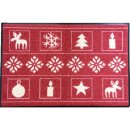 Waschbare Fußmatte - Weihnachten rot 50x75 cm...