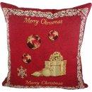 Kissen - Merry Christmas - Weihnachten Rot Gobelin ca 45...