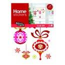 XMAS Fenster Sticker Weihnachten - Weihnachtskugeln rot -...