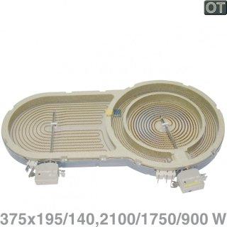 BSH Bosch Siemens Dreikreis Strahlheizkörper, Heizkörper mit 2100/1750/900 Watt, Nr.: 674650