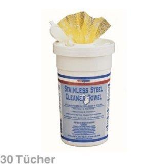 Edelstahlreiniger, 30 Reinigungstücher für Edelstahl, Aluminum, Chrom, Kupfer, Messing