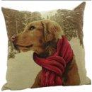 Kissen - Hunde im Winter - Retriever mit Schal ca 45x45...