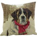 Kissen - Hunde im Winter Bernhardiner mit Schal ca 45x45...