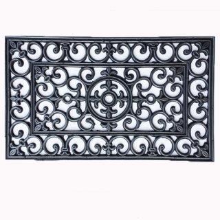 Türmatte Landhaus - ca 45x75 cm Gummimatte schwarz silber finish rechteckig