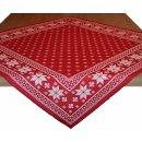 Mitteldecke Britt - Schneesterne rot weiss ca 85 x 85 cm...