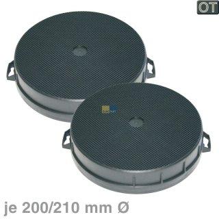2 Aktiv-Kohlefilter Ø200 / 210mm, rund für Dunstabzugshauben Bosch Siemens Neff Nr.: 353121