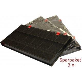 3er SET daniplus© Aktiv-Kohlefilter rechteckig passend für Typ 150, KF60, DKF24, 460450 - AEG, Juno, Bosch Siemens
