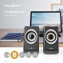 Nedis PC Lautsprecher 2.0, 18W Multimedia Boxen, Speaker für PC Computer Laptop, USB-Anschluss
