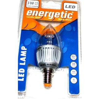 Energetic LED Lampe E14, Kerzenform, klar, Warmweiß 3 Watt = 15 Watt, Energieklasse A