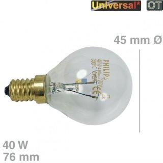 Bosch Siemens Lampe E14, 40W, 230V Kugelform für Backofen, Kühlschrank - Nr.: 057874
